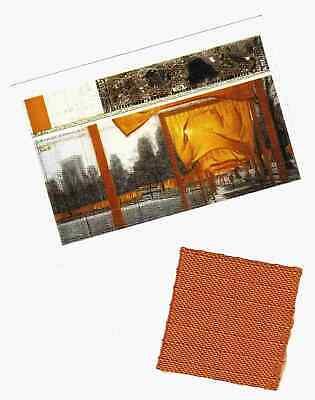 Christo & Jeanne-Claude THE GATES New York City Original FABRIC SWATCH +Postcard
