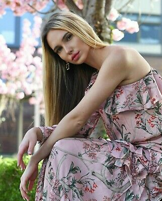 Johanna Ortiz x H&M One-shoulder Pink Floral Satin Dress 12 SOLD OUT BLOGGERS