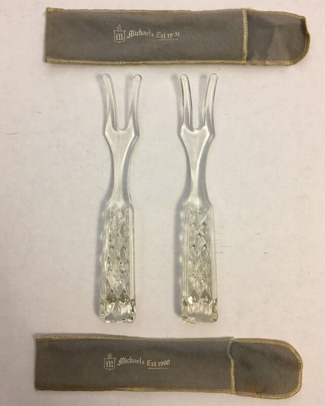 2 Vintage glass cut glass salad forks With Felt Case Michaels jewelers