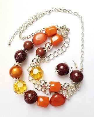 Multi Strand Chain Necklace & Earrings Set Light Beads 20