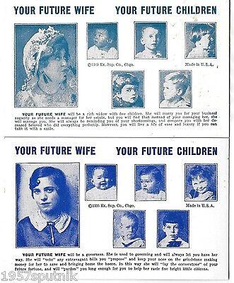 2 Your Future Wife Children 1935 Esco Humor Exhibit Supply Co gag Arcade Cards h