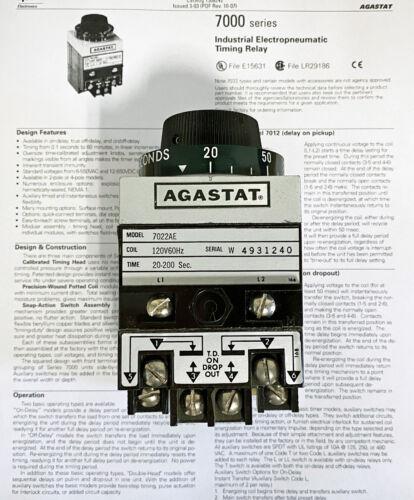 Agastat Model 7022AE Time Delay Relay
