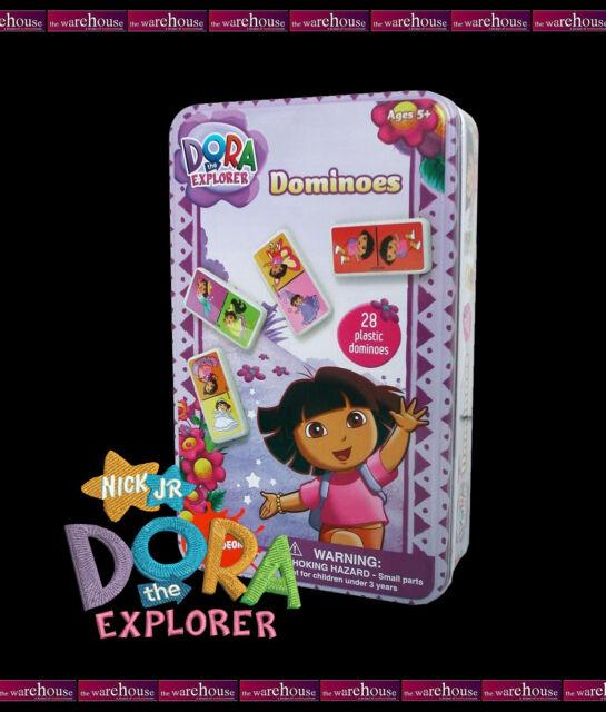 DORA THE EXPLORER 28 PIECE DOMINOES SET IN TIN GIRLS TOY CHILDREN KIDS GIFT GAME
