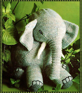 KNITTING Pattern-  Childs Knitted Elephant  pattern in DK- Measures 14