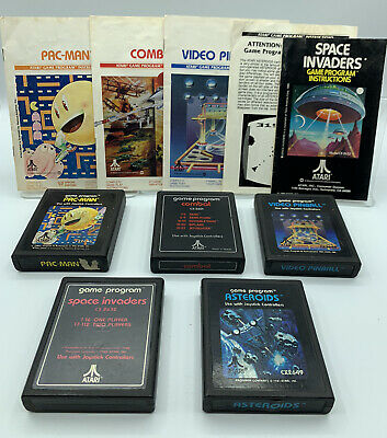 5 Atari 2600 Game Lot Pac-Man/Asteroids/Space Invaders/Video Pinball/Combat