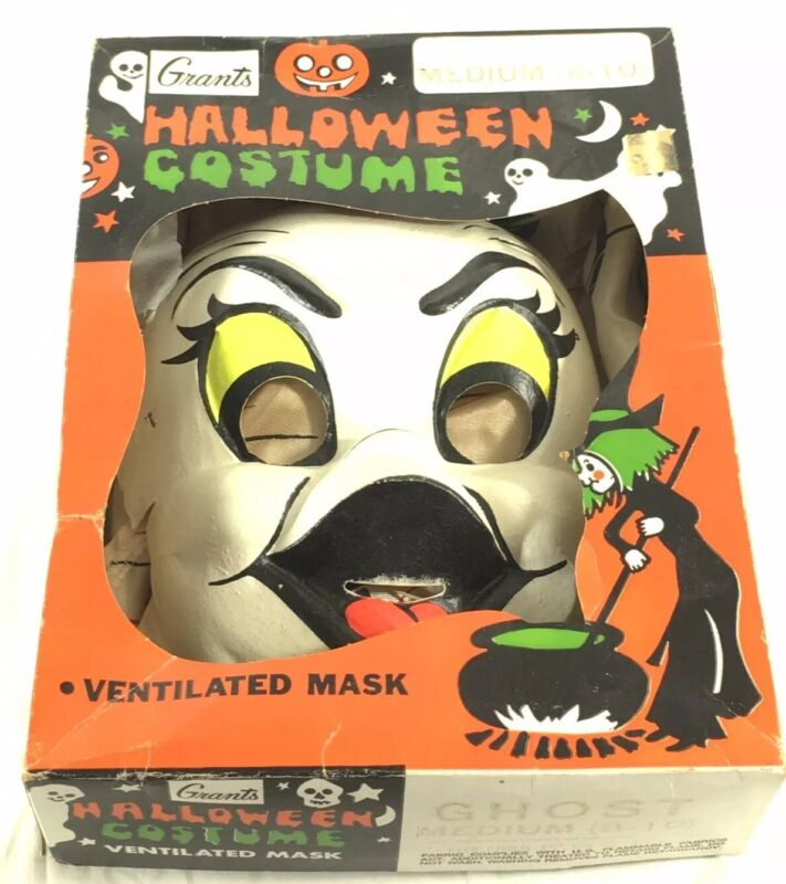 Vintage Grants Ghost Halloween Costume Mask/Outfit in Original Box