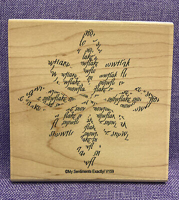 """VTG ~ My Sentiments Exactly ~ #V159 """"Poinsettia Words"""" Rubber Stamp ~ Brand New!"""