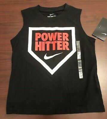 Boy's Sleeveless Nike Baseball Shirt Size 4 Black Power Hitter Home Plate Design