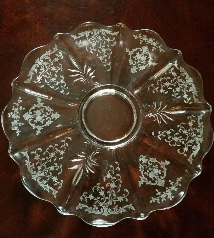 "Fostoria Navarre Etched Clear Platter Baroque 13.5"" Torte Cake"