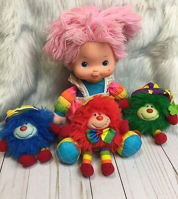Vintage 1983 Hallmark Mattel Baby Rainbow Brite & 3 Sprite Plush Lot