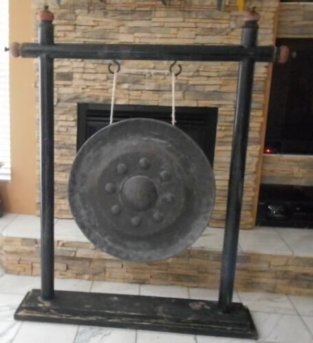 "ANTIQUE ORIENTAL TEMPLE GONG - STAND 65"" X 56"" GONG 30"" GREAT SOUNG & RELAXING"