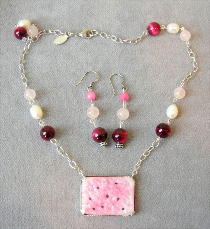 VTG Material~Pink Peking Glass~Silver Necklace~Baroque Pearl~Burgundy Agate~Rare