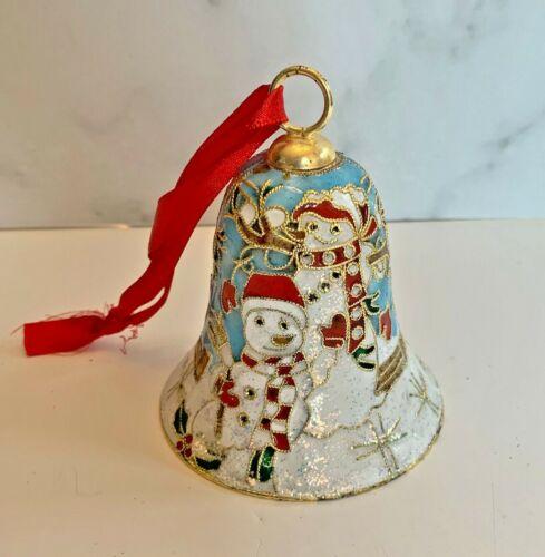 Cloisonne Snowman Christmas Bell Ornament Snow Snowflakes Blue Family C2