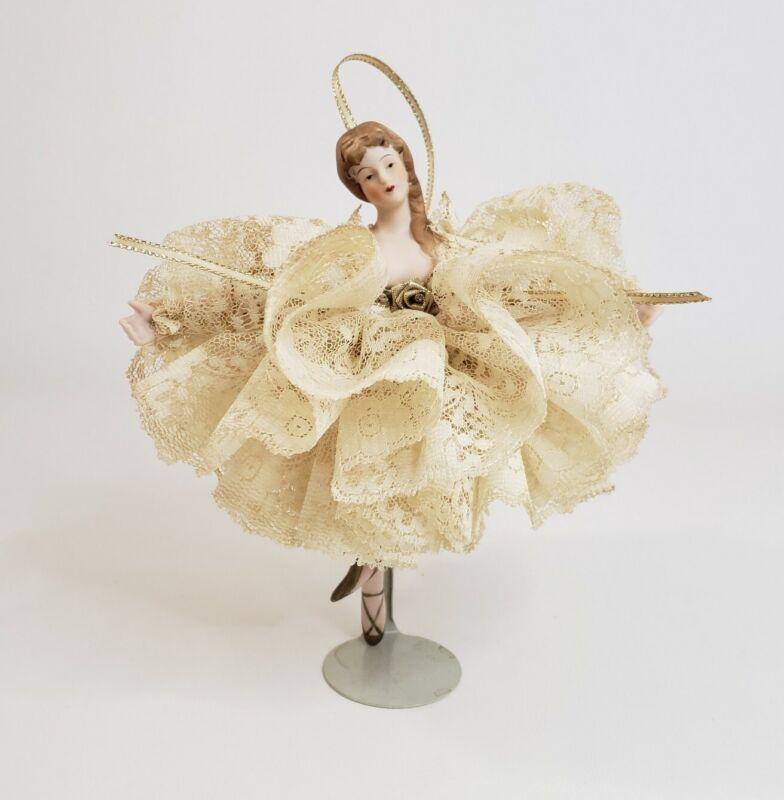 "Ballerina Porcelain Doll with Full Lace Beige Dress On a Kaiser Stand 7"" Vtg"