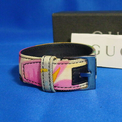 Auth GUCCI Multicolor Canvas Bangle Bracelet 17.5cm/6.9inch Vintage Italy in Box