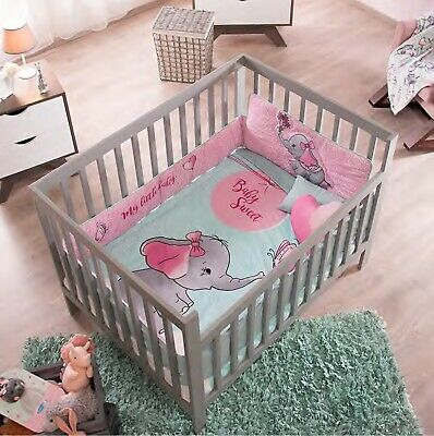 SWEET ELEPHANT BABY GIRLS NURSERY CRIB BEDDING SET 6 PCS FOR BABY SHOWER GIFT