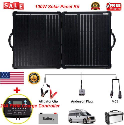 100W 12V Solar Panel Power Battery Charger w/ 20A PWM Charge