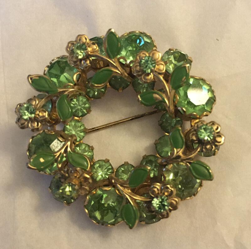 Vtg Flower Wreath Brooch Pin