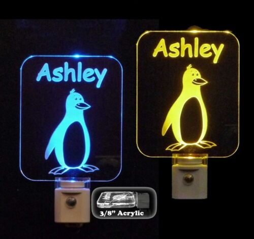 Personalized Penguin LED Night Light - Kids Lamp - nightlight, aquatic birds