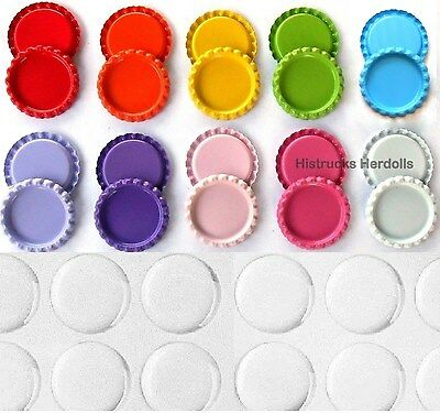 "100 Double Sided Painted 1"" Mix Flat Bottle Caps 10 COLORS SET + EPOXY STICKERS"