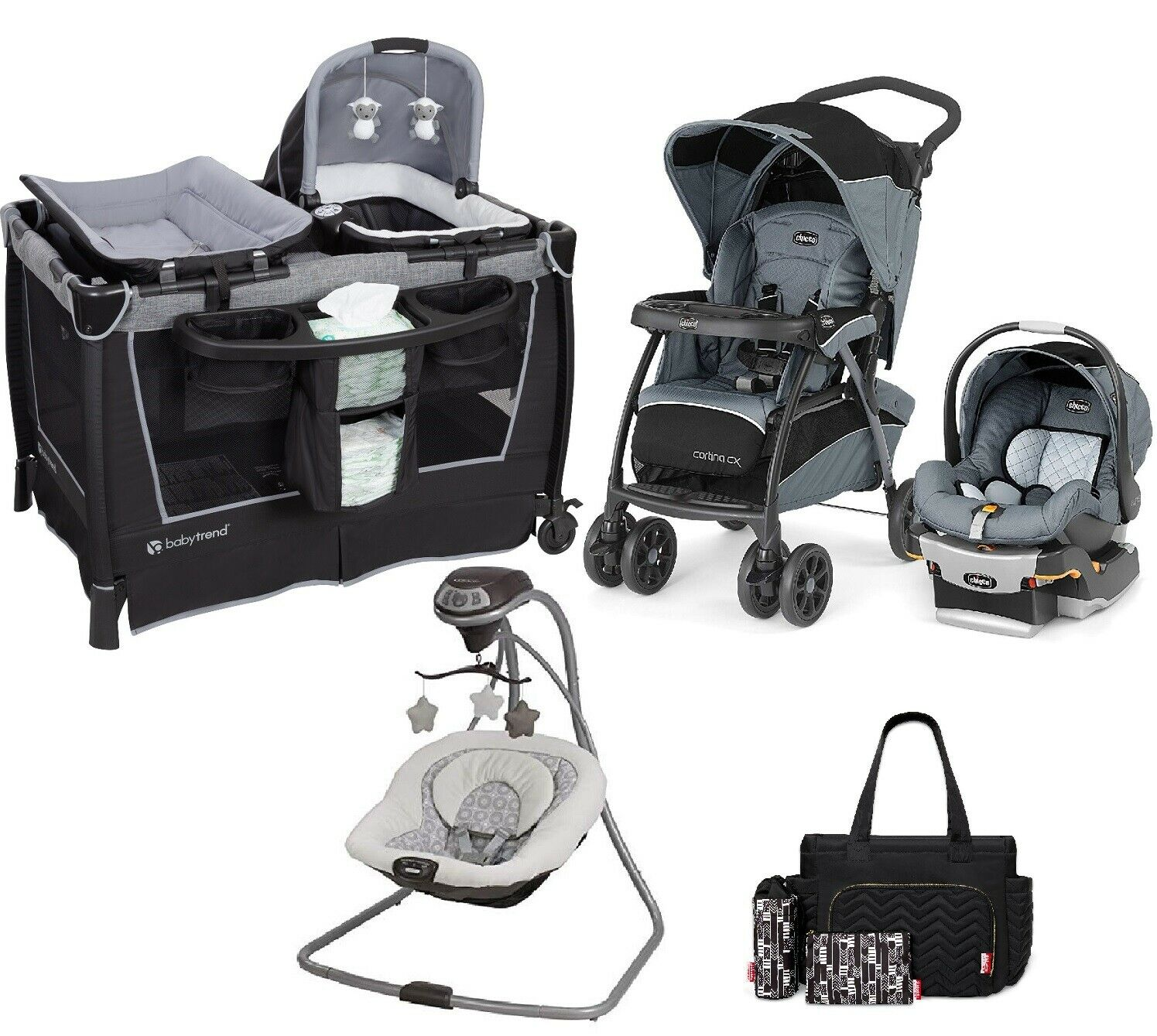 Baby Stroller with Car Seat Playard Diaper Bag Swing Chicco
