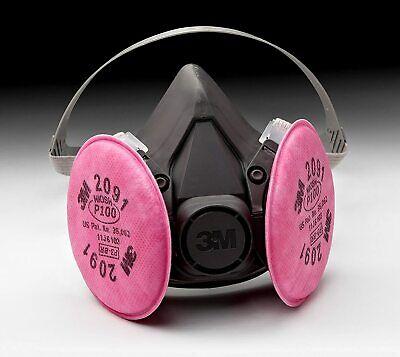 3m 6300 Half Facepiece Respirator W 3m 2091 P1oo Filter Cartridge Size Large