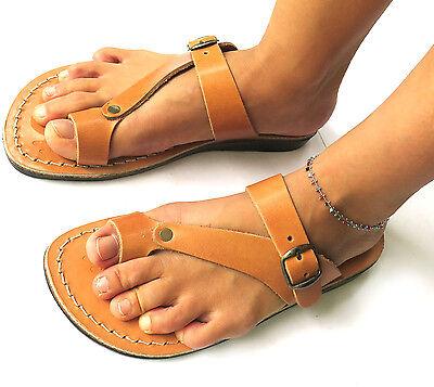 Leather Sandals Strap Flip Flops Caramel Brown Black Women Jerusalem Handmade
