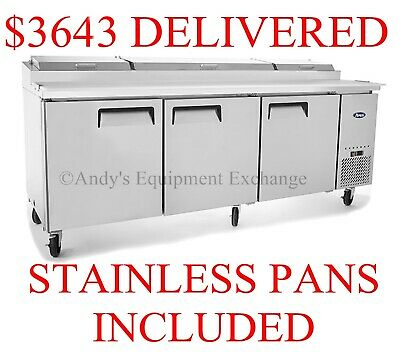 New 93 Pizza Prep Table 3 Doors With Cutting Board Nsf Stainless Mpf8203