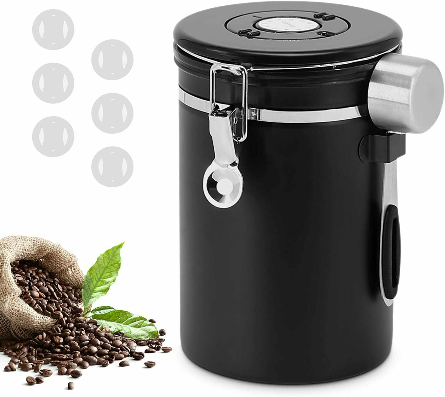 1.8L Airtight Stainless Steel Coffee Container Storage Canis
