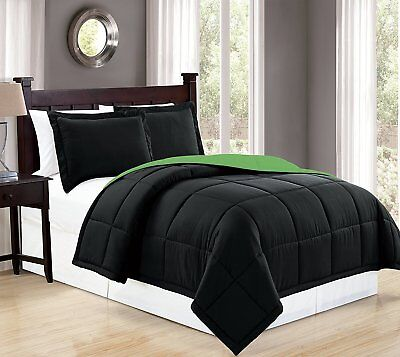 Fancy Linen Down Alternative Comforter Set Reversible Black/Lime Green AllSizes  ()