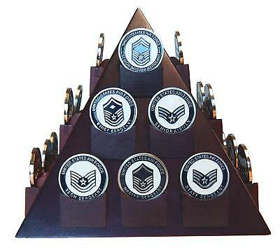 Military Coin Display - Pyramid Shaped Military Challenge Coin & Poker/Casino Chip Display Solid Wood