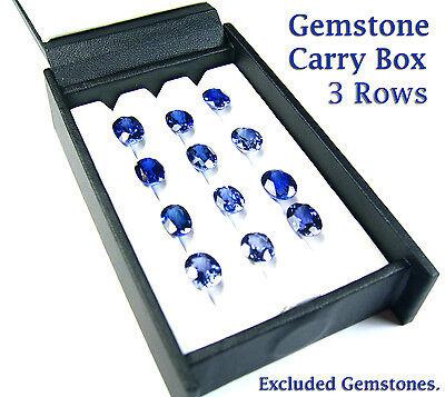 Carry Travel Display Box Show Gemstone Color Gem Leather 11x7 Cm 3 Row 0 Column