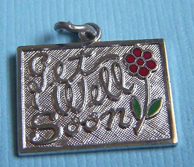 (Vintage enamel Get Well Soon sterling charm)