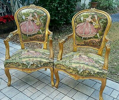PAIR ANTIQUE GILT French Carved Louis XV FAUTEUILS Tapestry Fireside Arm Chair