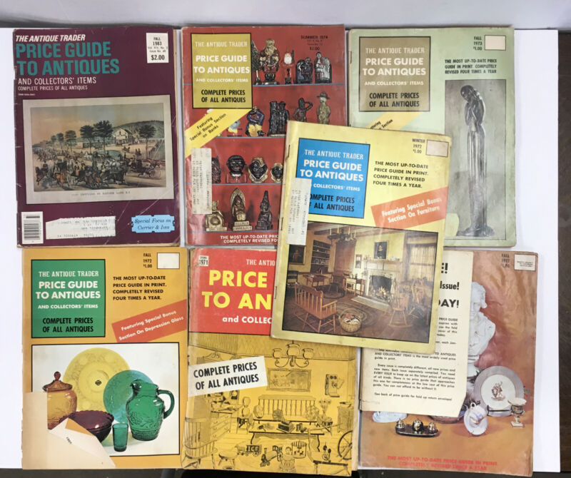 LOT of 7 THE ANTIQUE TRADER PRICE GUIDE TO ANTIQUES Dates From 1971-1983