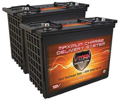 QTY 2 VMAX XTR12-155 BOAT POWER BACKUP 310AH marine deep cycle 12V AGM battery