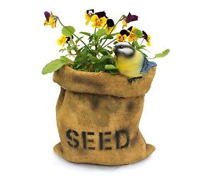 Resin Garden Ornament Seed Sack Planter with Blue Tit animal planters/pots