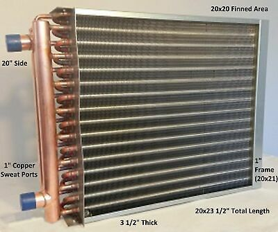 20x20 Water To Air Heat Exchanger1 Copper Ports W Ez Install Front Flange