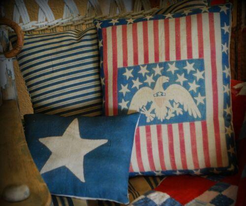 Antique primitive vintage flag striped stars eagle patriotic 4th of July pillow
