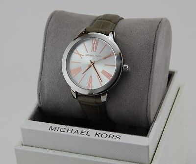 NEW AUTHENTIC MICHAEL KORS HARTMAN SILVER GREY LEATHER WOMEN'S MK2479 WATCH