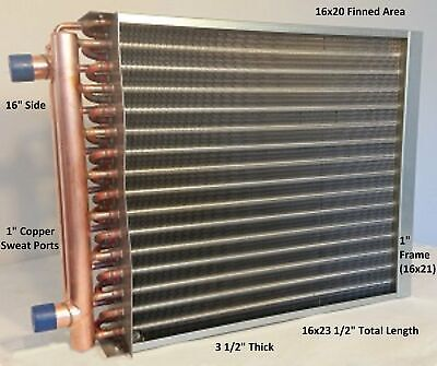 16x20 Water To Air Heat Exchanger1 Copper Ports W Ez Install Front Flange