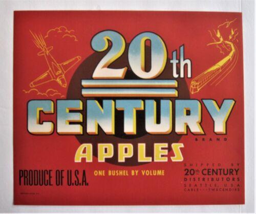 20th Century Brand Fruit Crate Label, original 1930s