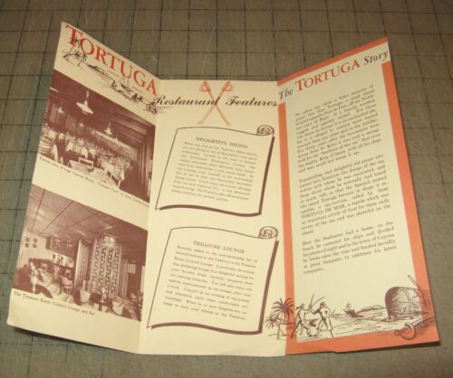 Vintage TORTUGA RESTRAUNT & Treasure Room Fold-Out Brochure - Hagerstown, MD