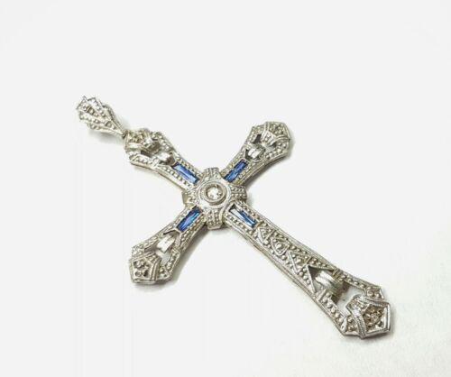 Original 18kt Gold Pendant Cross With 0.02 ct Diamond & Synthetic Sapphire