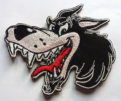 CHEEKY WOLF WOLVES - SEW ON OR iRON ON BIKER MOTORCYCLE PATCH 100mm x 90mm
