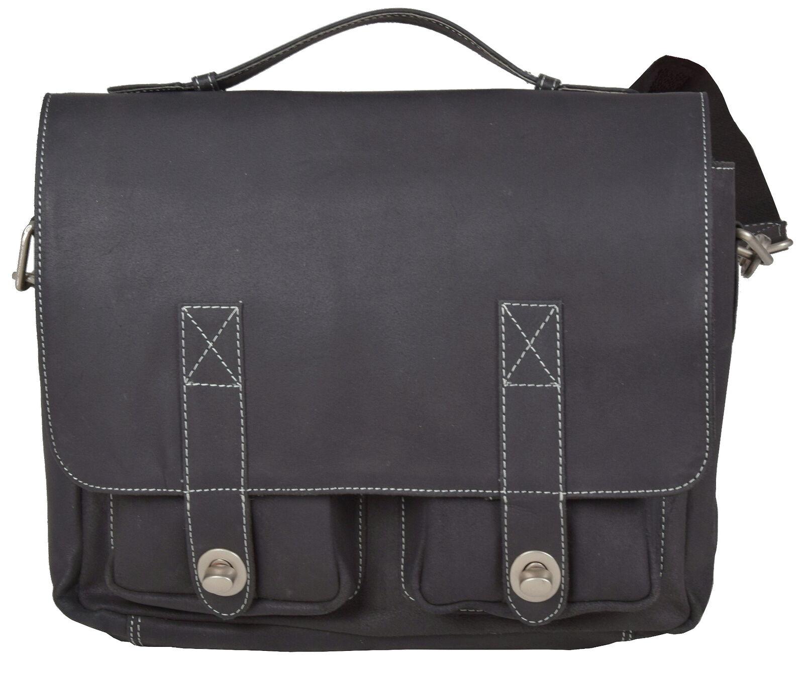 Echt Leder Messenger Bag Handtasche Groß Aktentasche Umhängetasche Unisex Grau
