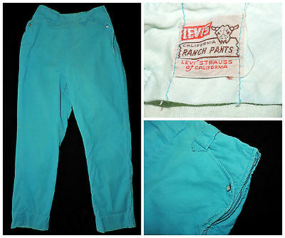 Vtg 50s LEVI'S Big E Short Horn Blue Corduroy Western Pant Rockabilly High Waist