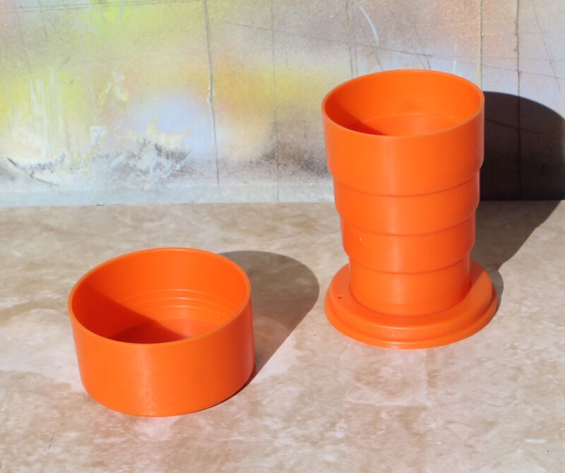 Vintage Collapsible / Folding Travel Drinking Cup - Orange