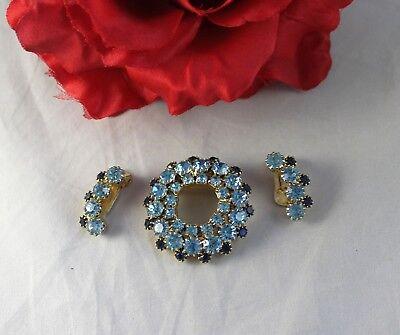 Vintage Blue  Rhinestone Gold tone  Pin  Brooch Earrings Set  CAT RESCUE