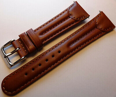 New Mens Brown Double Padded Oiled Leather 20mm Watch Band Silver Tone Buckle - Leather Band Silver Watch